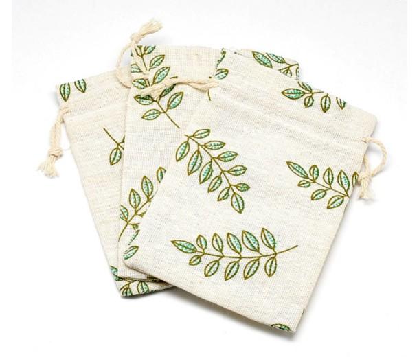 Cotton Drawstring Pouch, Leaf Print on Beige, 5.5x4 inch