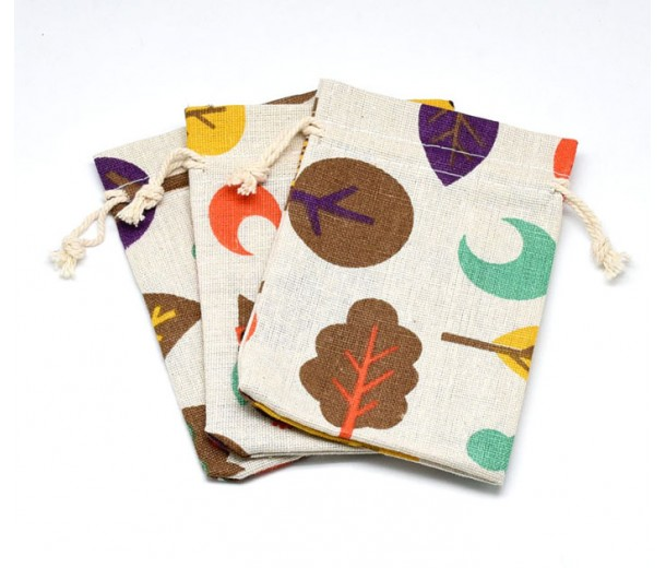 Cotton Drawstring Pouch, Forest Print on Beige, 5.5x4 inch