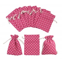 Cotton Drawstring Pouch, Polka Dot Pink, 5.5x4 inch