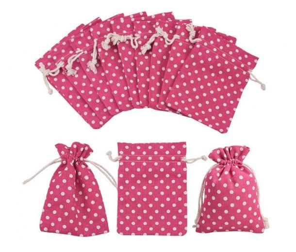 Cotton Drawstring Pouch, Polka Dot Pink, 5.5x4 inch
