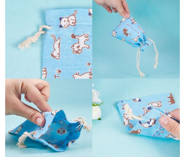 Cotton Drawstring Pouch, Cat Print on Light Blue, 5.5x4 inch