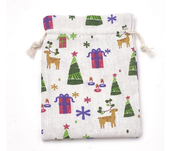 Polycotton Drawstring Pouch, Holiday Print on White, 7x5 inch