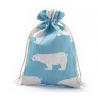 Polycotton Drawstring Pouch, Polar Bear Print on Blue, 7x5 inch