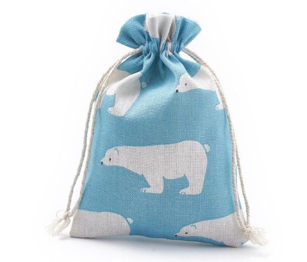 Polycotton Drawstring Pouch, Polar Bear Print on Blue, 7x5 inch