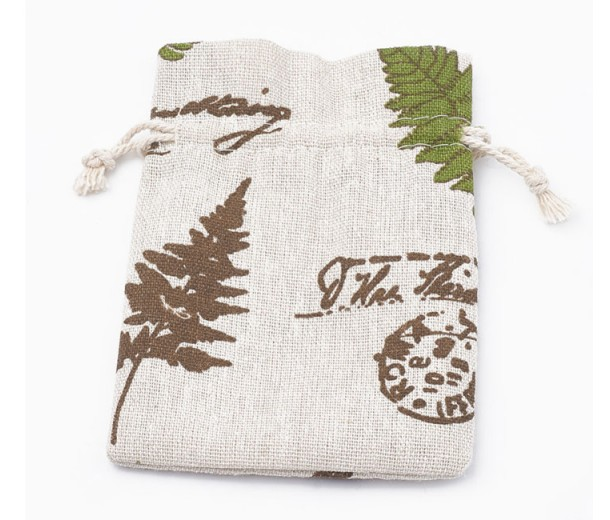 Polycotton Drawstring Pouch, Botanical Print on Beige, 5.5x4 inch