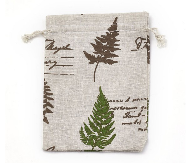 Polycotton Drawstring Pouch, Botanical Print on Beige, 7x5 inch