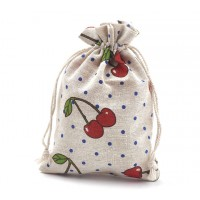 Polycotton Drawstring Pouch, Cherry Print on Beige, 7x5 inch