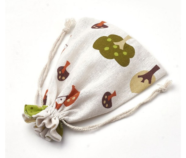 Polycotton Drawstring Pouch, Fairy Tale Forest Print on Beige, 7x5 inch