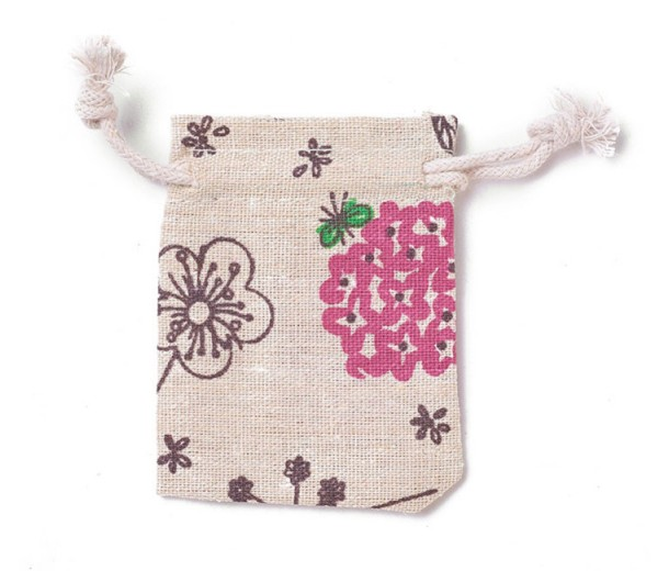 Cotton Drawstring Pouch, Flox Flower Print on Beige, 3.5x3 inch
