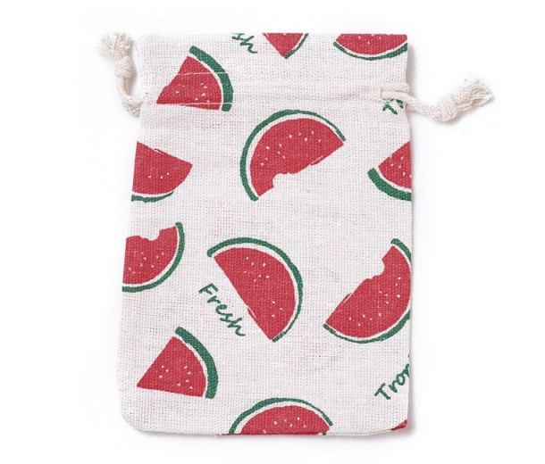 Cotton Drawstring Pouch, Watermelon Print on Beige, 5.5x4 inch