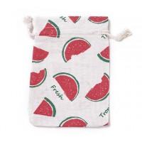 Cotton Drawstring Pouch, Watermelon Print on Beige, 5.5x4 inch