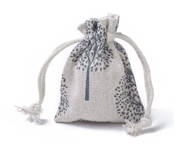 Cotton Drawstring Pouch, Tree of Life Print on Beige, 3.5x3 inch