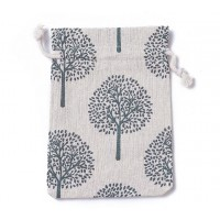 Cotton Drawstring Pouch, Tree of Life Print on Beige, 5.5x4 inch