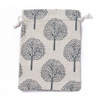 Cotton Drawstring Pouch, Tree of Life Print on Beige, 7x5 inch