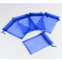 Organza Pouch, Dark Blue Sheer, 5.5x4 inch