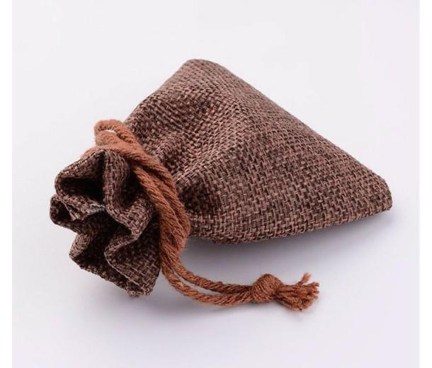 Burlap Drawstring Pouch, Medium Brown, 3.5x3 inch