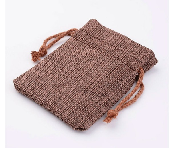 Burlap Drawstring Pouch, Medium Brown, 3.5x3 inch