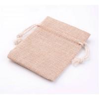 Burlap Drawstring Pouch, Tan Brown, 4x3 inch