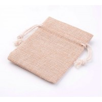 Burlap Drawstring Pouch, Tan Brown, 4x3 inch