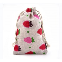 Polycotton Drawstring Pouch, Strawberry Print on Beige, 5.5x4 inch
