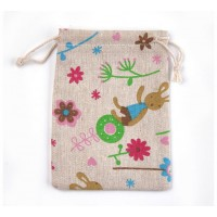 Polycotton Drawstring Pouch, Flower Bunny Print on Beige, 5.5x4 inch