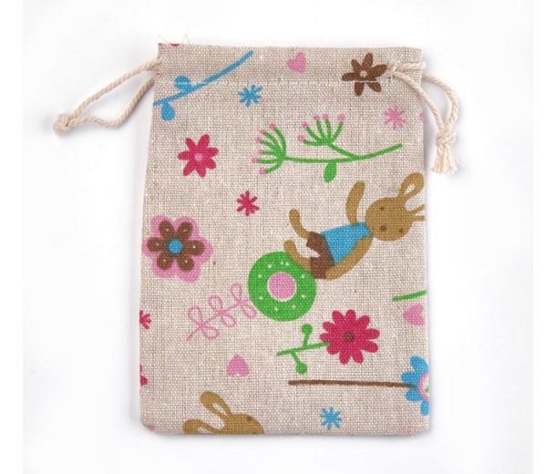 Polycotton Drawstring Pouch, Flower Bunny Print on Beige, 5.5x4 inch