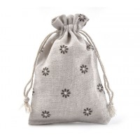 Polycotton Drawstring Pouch, Rustic Daisies on Beige, 5.5x4 inch