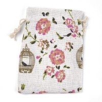 Polycotton Drawstring Pouch, Bird Garden Print on Beige, 5.5x4 inch
