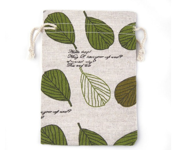 Polycotton Drawstring Pouch, Green Leaves on Beige, 5.5x4 inch