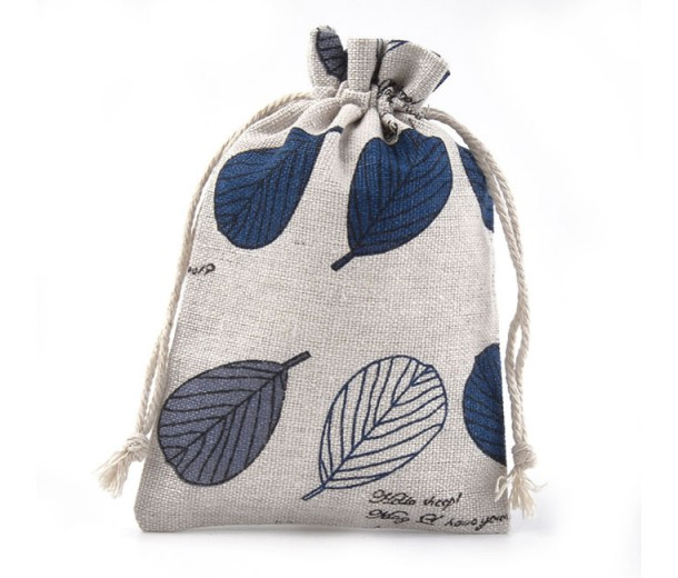 Polycotton Drawstring Pouch, Blue Leaves on Beige, 5.5x4 inch