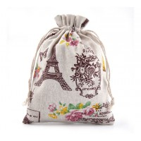 Polycotton Drawstring Pouch, Paris Print on Beige, 7x5 inch