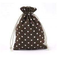 Polycotton Drawstring Pouch, Polka Dot Brown, 5.5x4 inch