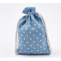 Polycotton Drawstring Pouch, Polka Dot Light Blue, 5.5x4 inch