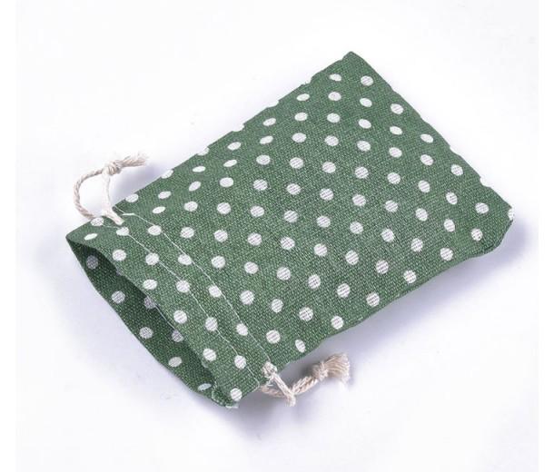 Polycotton Drawstring Pouch, Polka Dot Green, 5.5x4 inch
