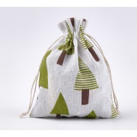 Polycotton Drawstring Pouch, Coniferous Forest Print on Beige, 7x5 inch