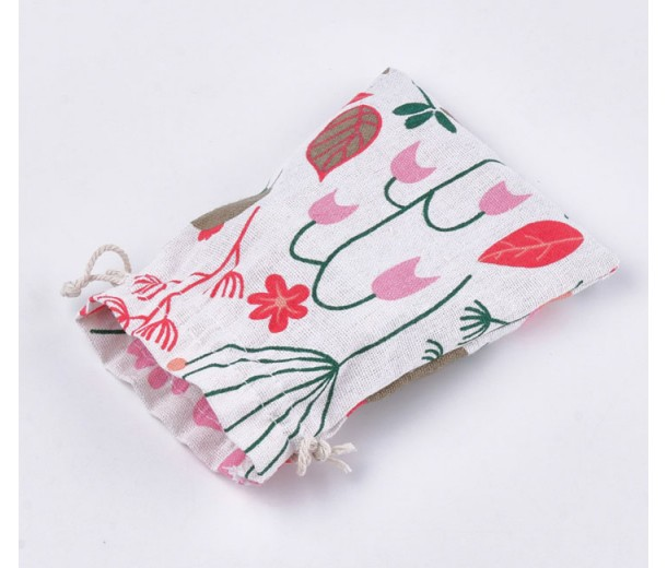 Polycotton Drawstring Pouch, Red Plants Print on Beige, 7x5 inch