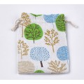Polycotton Drawstring Pouch, Blue and Green Forest Print on Beige, 7x5 inch