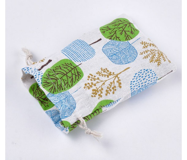 Polycotton Drawstring Pouch, Blue and Green Forest Print on Beige, 5.5x4 inch