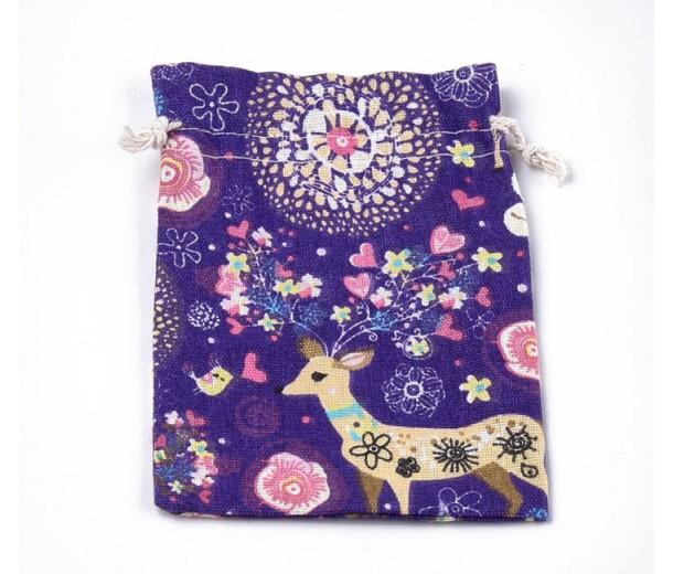 Polycotton Drawstring Pouch, Fairy Tale Print on Purple, 7x5 inch