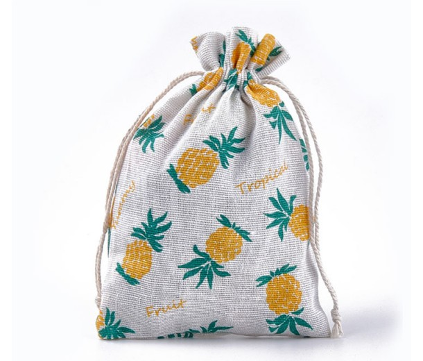 Polycotton Drawstring Pouch, Pineapple Print on Beige, 7x5 inch