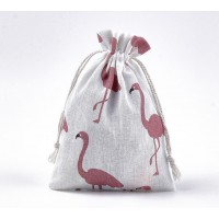 Polycotton Drawstring Pouch, Red Flamingo Print on Beige, 7x5 inch