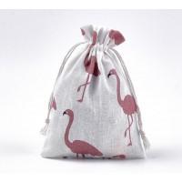 Polycotton Drawstring Pouch, Red Flamingo Print on Beige, 7x5 inch