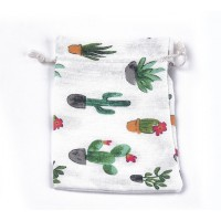 Polycotton Drawstring Pouch, Cacti Print on White, 7x5 inch