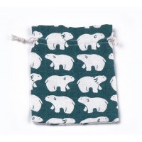 Polycotton Drawstring Pouch, Polar Bear Print on Teal, 7x5 inch