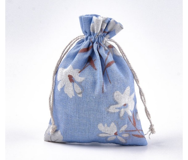 Polycotton Drawstring Pouch, White Flowers on Blue, 7x5 inch