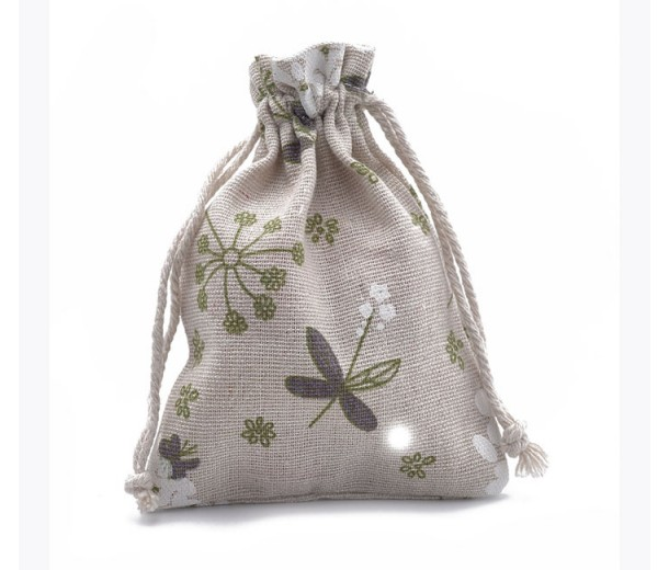 Polycotton Drawstring Pouch, Angelica Plant Print on Beige, 5.5x4 inch