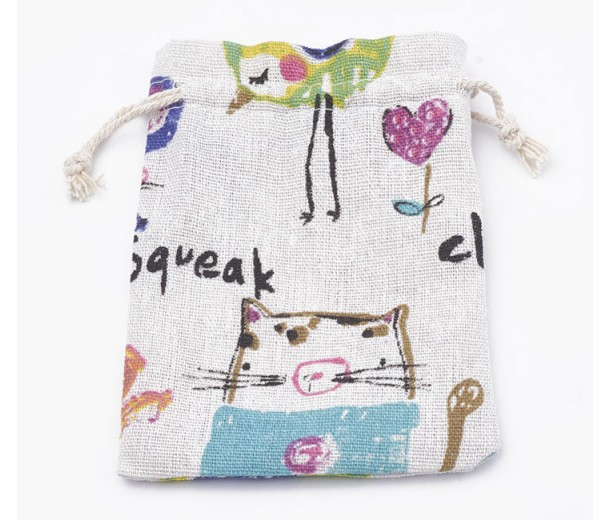 Polycotton Drawstring Pouch, Cat and Mouse Print on Beige, 5.5x4 inch