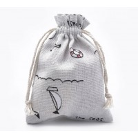 Polycotton Drawstring Pouch, Over the Seas Print on Beige, 5.5x4 inch