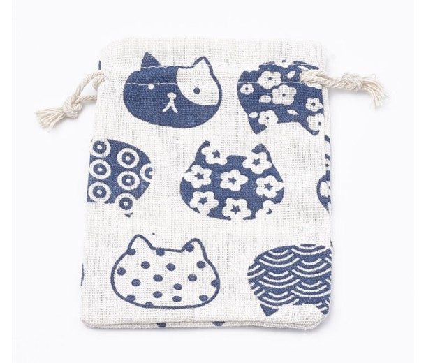 Polycotton Drawstring Pouch, Cat Heads on Beige, 5.5x4 inch