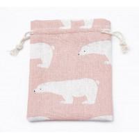 Polycotton Drawstring Pouch, Polar Bear Print on Pink, 5.5x4 inch